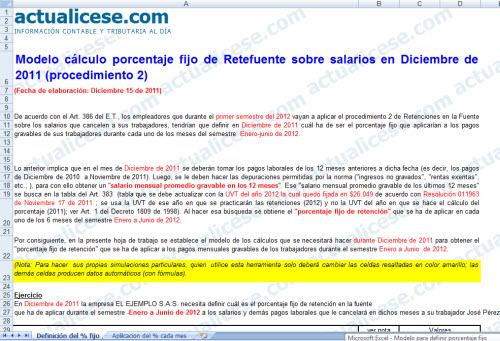 [Liquidador] Cálculo porcentaje fijo de Retefuente sobre salarios en Diciembre de 2011 (procedimiento 2)