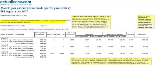 [Liquidador] Modelo para estimar reducción de aportes parafiscales y EPS según la Ley 1607