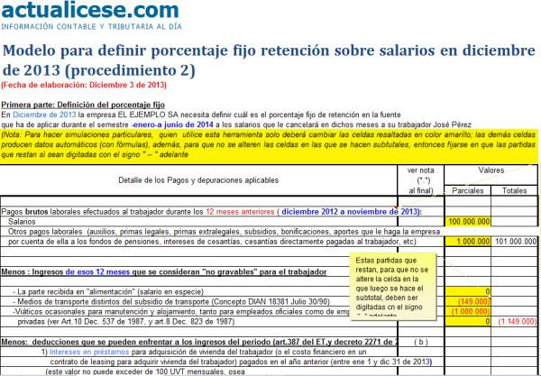 [Liquidador] Modelo para definir porcentaje fijo retención sobre salarios en diciembre de 2013 (procedimiento 2)