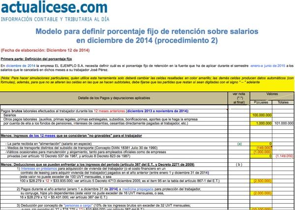 [Liquidador] Modelo para definir porcentaje fijo retención sobre salarios en diciembre de 2014 (procedimiento 2)