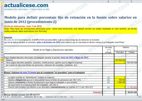 [Liquidador] Modelo para definir porcentaje fijo de retención en la fuente sobre salarios en Junio de 2012 (procedimiento 2)