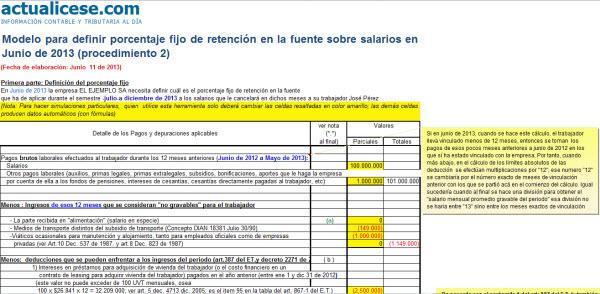 [Liquidador] Modelo para definir porcentaje fijo de retención en la fuente sobre salarios en Junio de 2013 (procedimiento 2)
