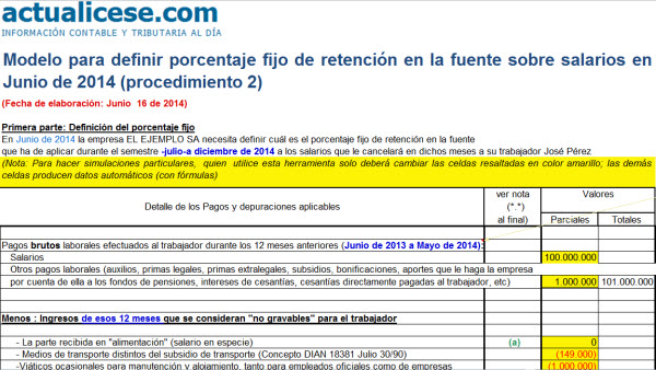 Modelo para definir porcentaje fijo de retención en la fuente sobre salarios en Junio de 2014 (procedimiento 2)