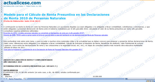 Modelo para el Cálculo de Renta Presuntiva en las Declaraciones de Renta 2010 de Personas Naturales