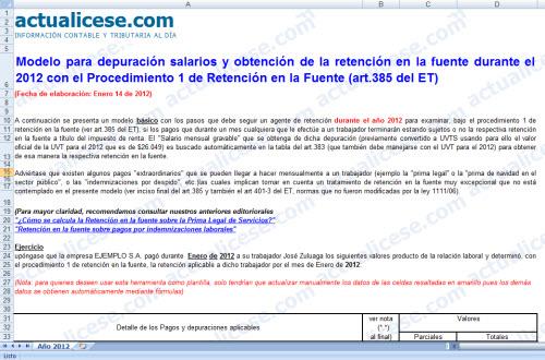 Modelo depuración salarios y obtención Retención en la fuente durante 2012 con (procedimiento 1)