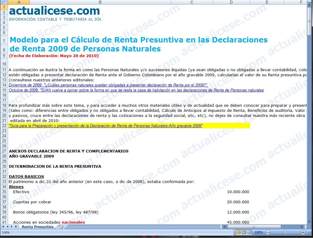 [Excel] Modelo para el Cálculo de Renta Presuntiva en las Declaraciones de Renta 2009 de Personas Naturales