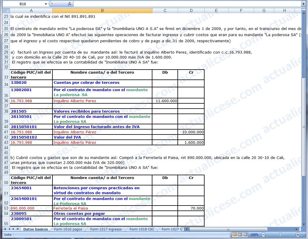 [Excel] Modelo de los reportes de Información Exógena Tributaria 2009 que deben entregar los mandatarios en contratos de mandato