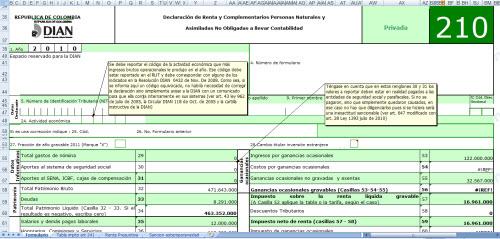 Plantilla básica para elaborar borrador del Formulario 210 para Declaración de Renta año gravable 2010 de Personas Naturales