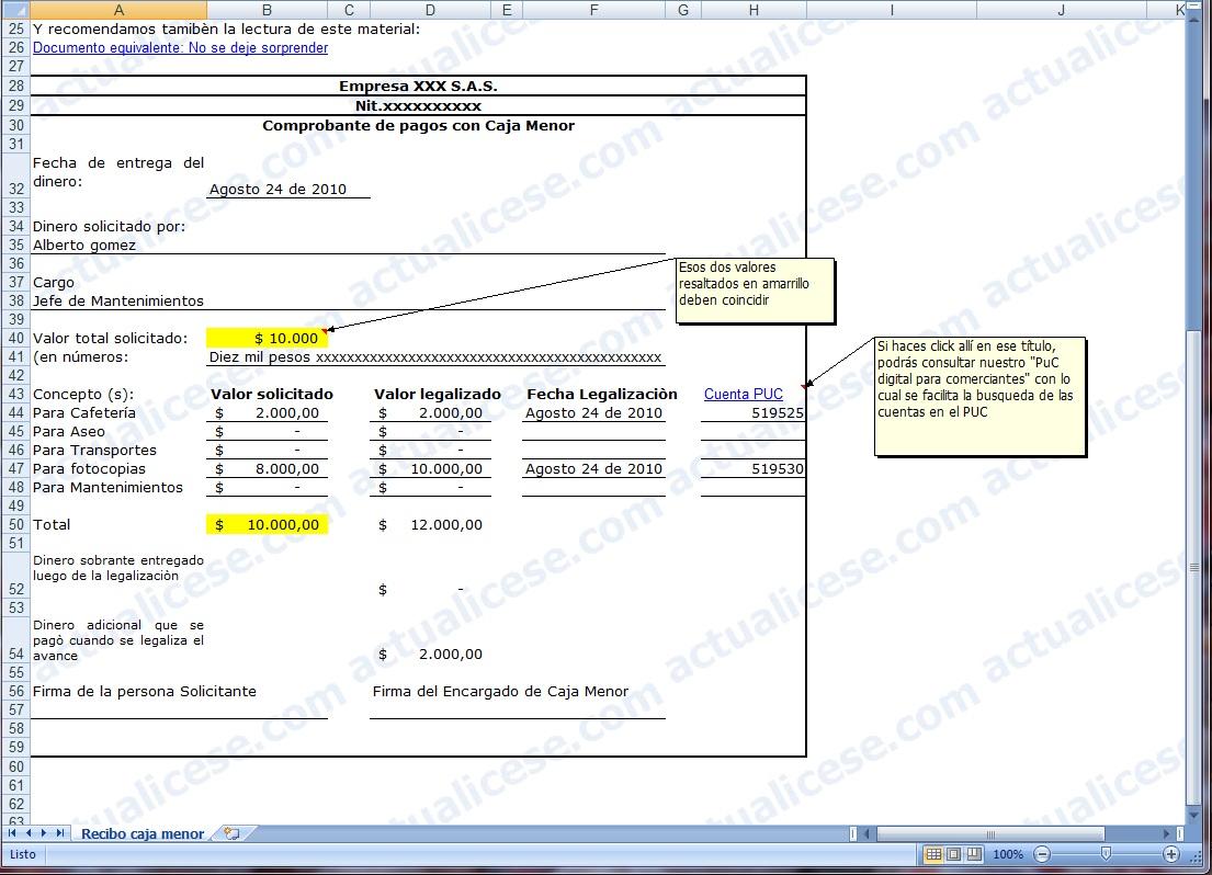 Excel] Modelo de Comprobante de Pagos con Caja Menor