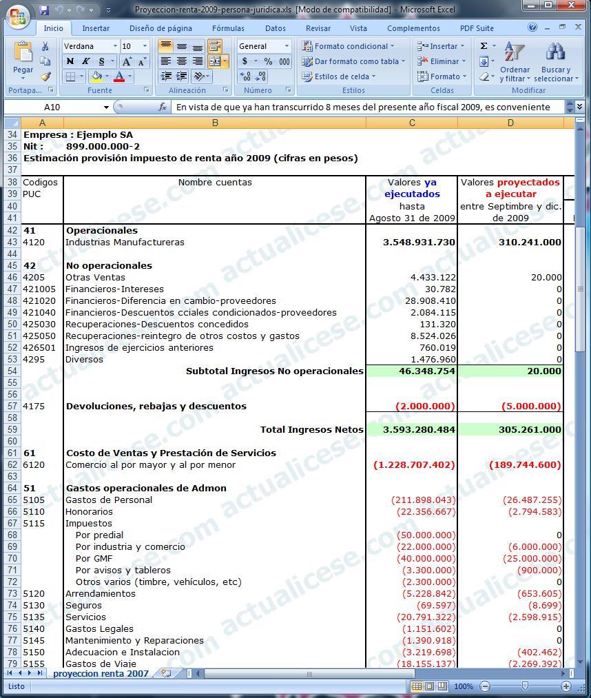 del impuesto de renta año gravable 2009 de una persona jurídica