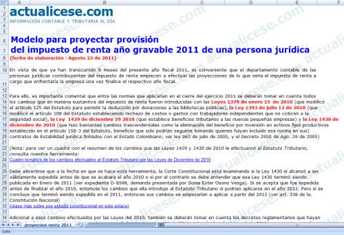 [Liquidador] Proyección de provisión del impuesto de renta año gravable 2011 de una persona jurídica