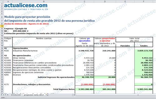 Modelo para proyectar la provisión de impuesto de renta 2012 de personas jurídicas