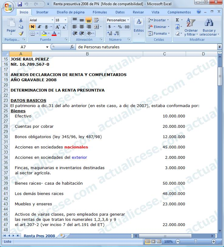 [Excel] Modelo para calcular la Renta Presuntiva 2008 de Personas naturales