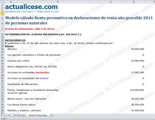 [Liquidador] Cálculo Renta Presuntiva en declaraciones de renta año gravable 2011 de Personas Naturales