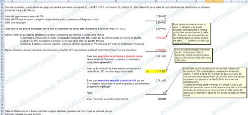 Modelo del Cálculo de Retención a Independientes con un único contrato no superior a 300 UVT