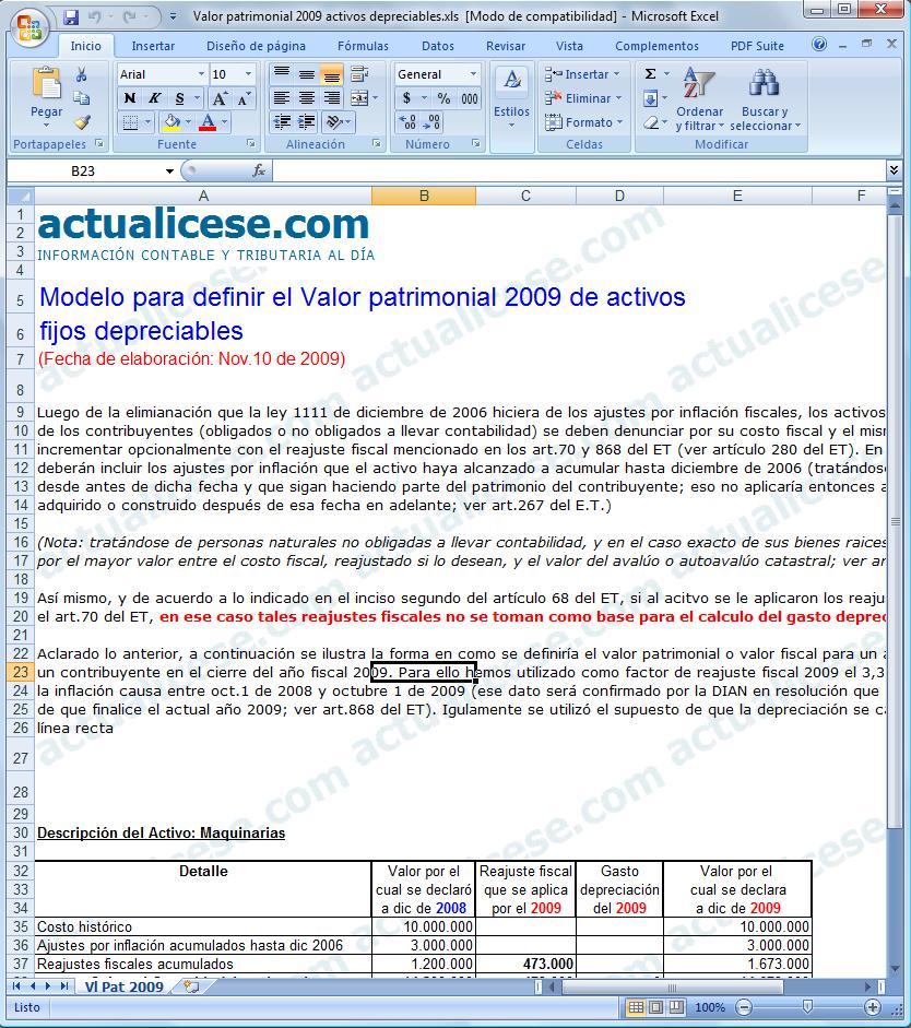 [Excel] Modelo para definir el valor patrimonial a Diciembre de 2009 de activos fijos depreciables
