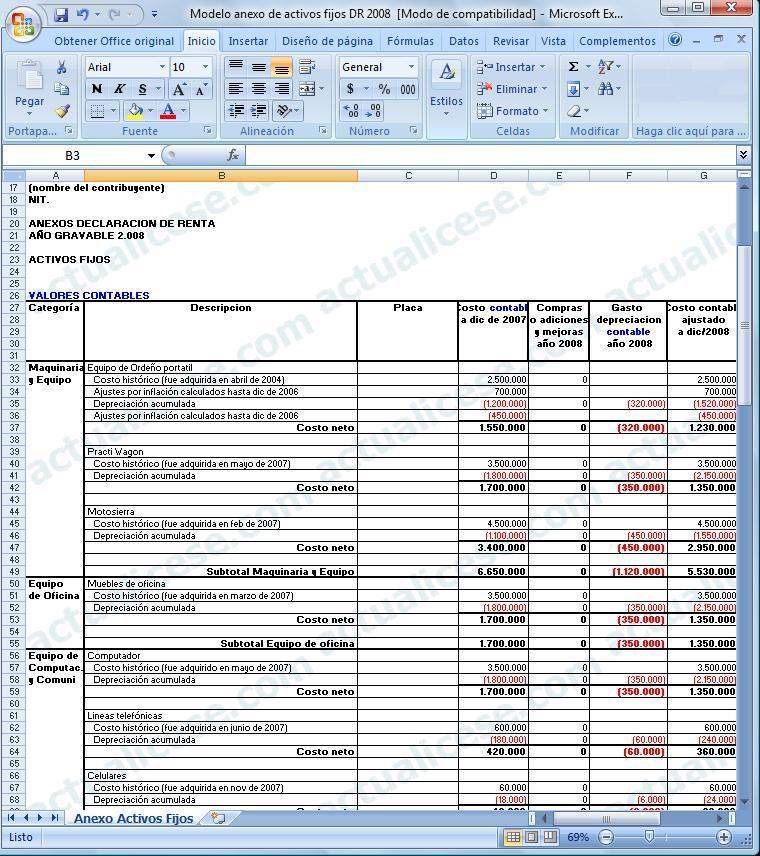 [Excel] Modelo del anexo de Activos Fijos en la Declaración de Renta 2008 para contribuyentes obligados a llevar contabilidad
