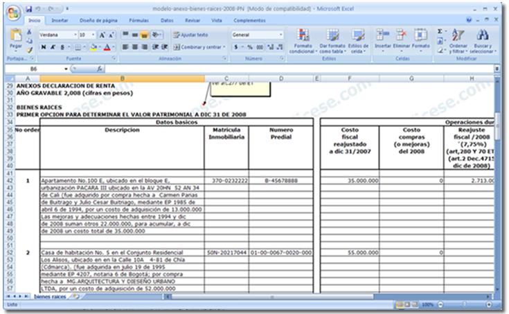 [Excel] Modelo del anexo de Bienes Raíces en la DR 2008 de una Persona Natural No Obligada a llevar contabilidad