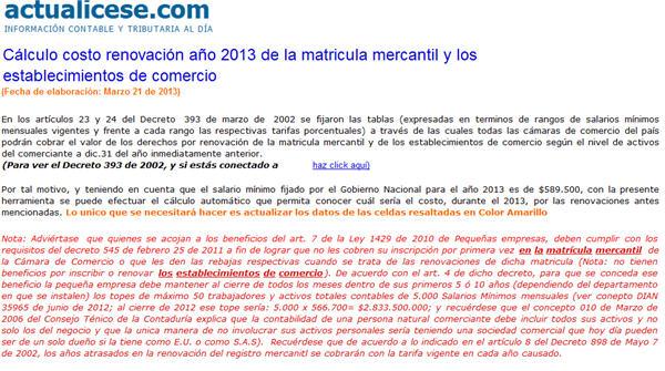 Calculo costo renovacion 2013 matricula mercantil y establecimientos de comercio