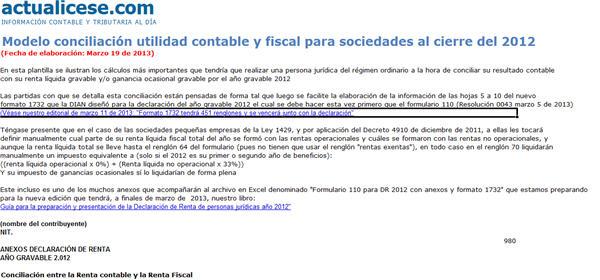 [Liquidador] Modelo conciliación utilidad contable y fiscal para sociedades al cierre del 2012
