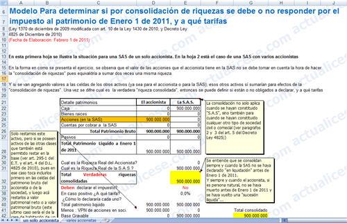 [Liquidador] Modelo para determinar si por consolidación de riquezas se debe o no responder por el impuesto al patrimonio de Enero 1 de 2011 y sus tarifas
