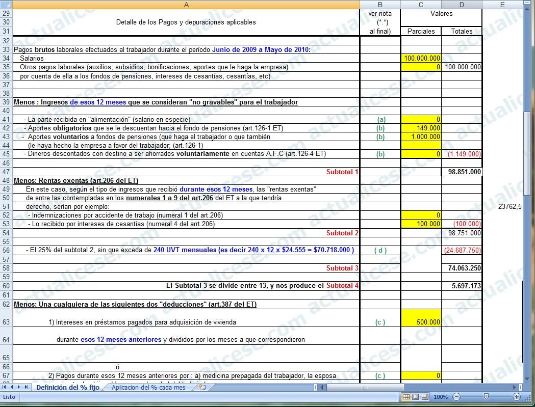 [Excel] Modelo para definir porcentaje fijo de retención por salarios (procedimiento 2) en Junio de 2010
