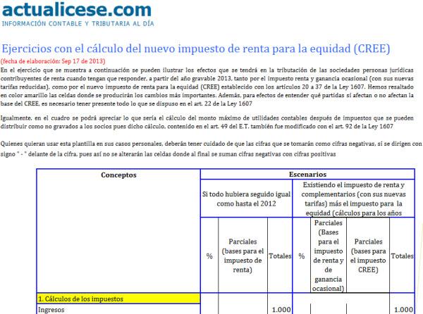 [Liquidador] Ejercicios con el cálculo del nuevo impuesto de renta para la equidad (CREE)