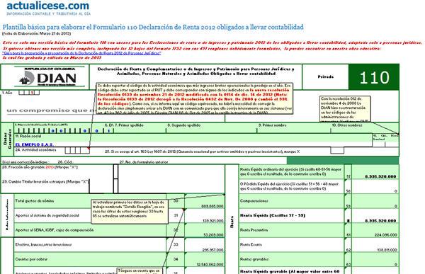 [Liquidador] Formulario 110 Declaración de Renta Personas Jurídicas, a.g 2012. Plantilla básica