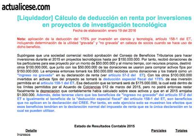 [Liquidador] Cálculo de deducción en renta por inversiones en proyectos de investigación tecnológica