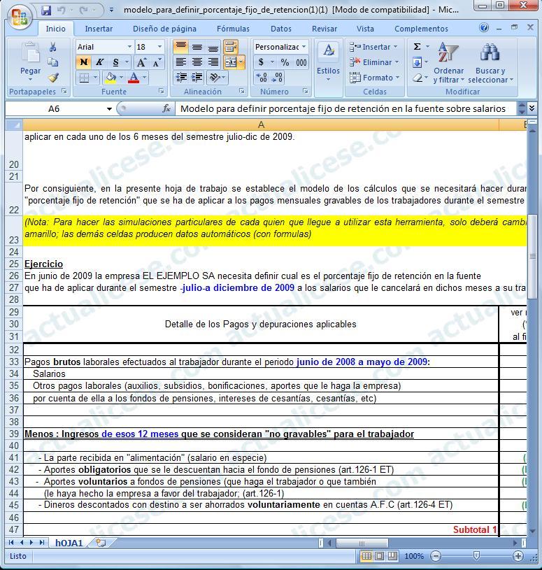 [Excel] Modelo para definir porcentaje fijo de retención por salarios (procedimiento 2) en Junio de 2009