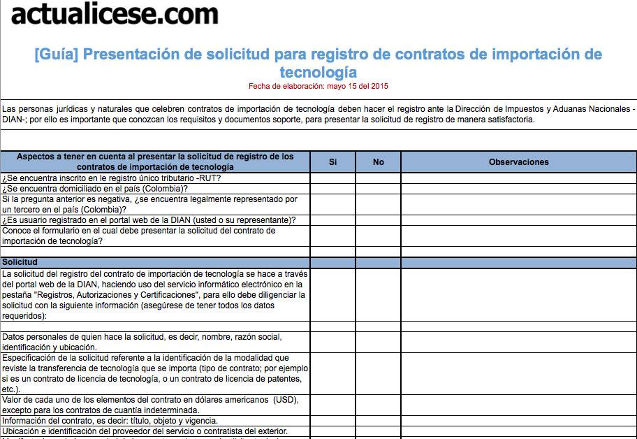 Presentación de solicitud para registro de Contratos de Importación de Tecnología
