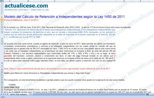 Modelo del Cálculo de Retención a Independientes según la Ley 1450 de 2011