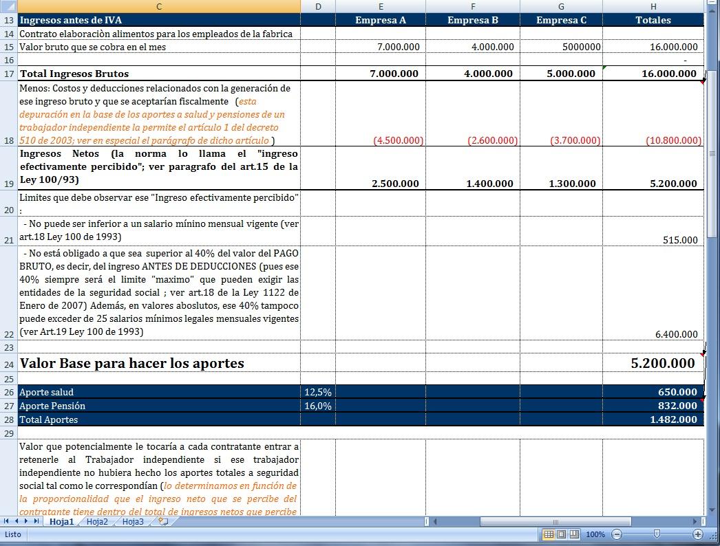 [Excel] Simulador para control de pagos de independientes a la Seguridad Social